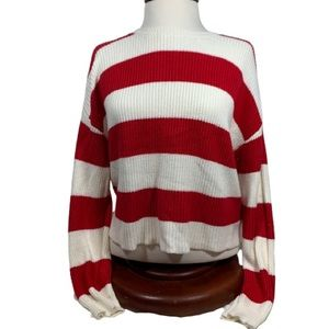 Forever 21 Knit Sweater Size Medium Red and White